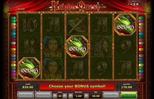 Knights Quest Review Slots Scatter win triggers the bonus feature