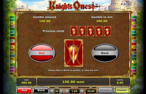 Knights Quest Review Slots Gamble Feature Game Board
