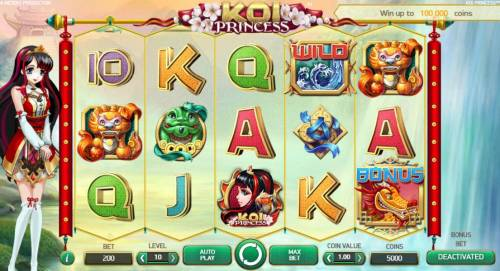 Koi Princess Review Slots Main game board based on an Asian anime woman theme, featuring five reels and 20 paylines with a $1,00,000 max payout