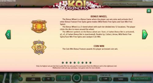 Koi Princess Review Slots Bonus Wheel and Coin Win game rules