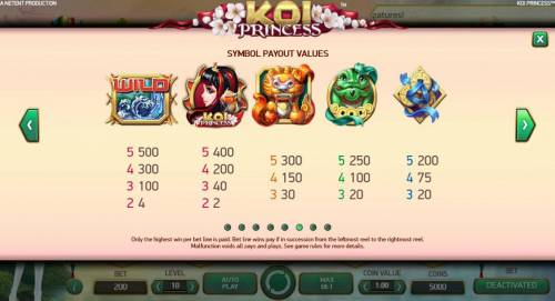 Koi Princess Review Slots High value slot game symbols paytable - symbols include: Water Wild, Koi Princess, a lion, a dragon and three gold coins