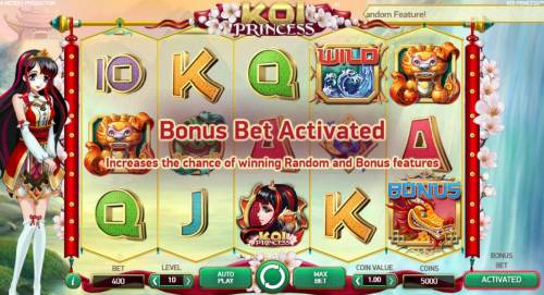 Koi Princess Review Slots Activating the Bonus Bet increases the chance of winning Random and Bonus Features