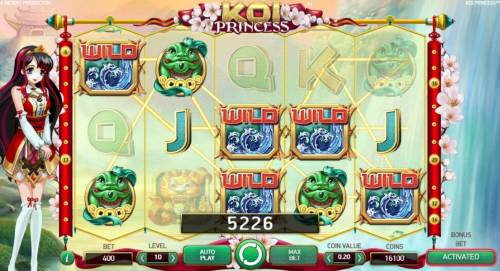Koi Princess Review Slots Random Wilds feature leads to a 5,226 coin big win