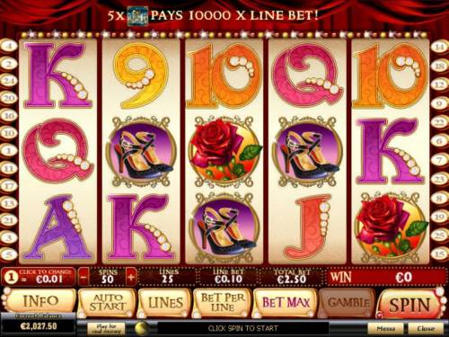La Chatte Rouge Review Slots Main game board featuring five reels and 25 paylines with a $50,000 max payout