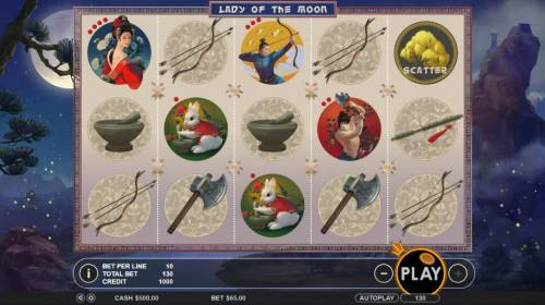Lady of the Moon Review Slots Main game board featuring five reels and 13 paylines with a $65,000 max payout