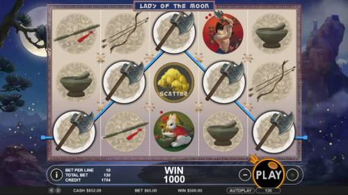 Lady of the Moon Review Slots A five of a kind leads to a 1,000 coin payout.