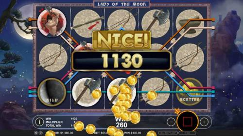 Lady of the Moon Review Slots A 1,130 coin jackpot awarded for free spins play.