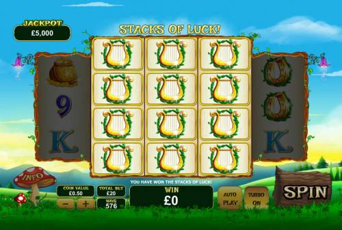 Land of Gold Review Slots Dilling the center reels triggers the Stacks of Luck feature.
