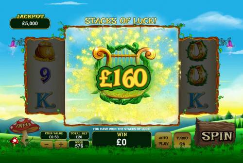 Land of Gold Review Slots Stacks of Luck feature pays out a total of 160.00