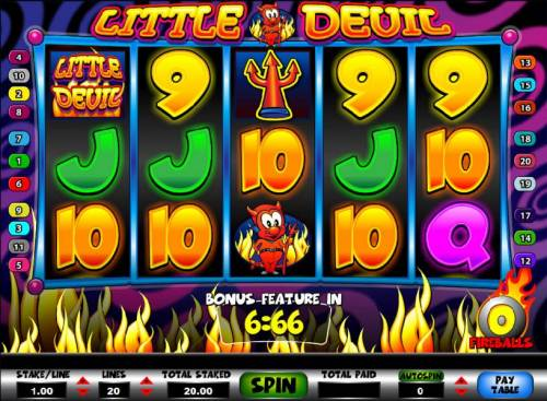 Little Devil Review Slots main game board featuring five reels and twenty paylines