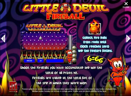 Little Devil Review Slots fireball bonus feature - shoot the balls you have accumulated and win the total of all prizes