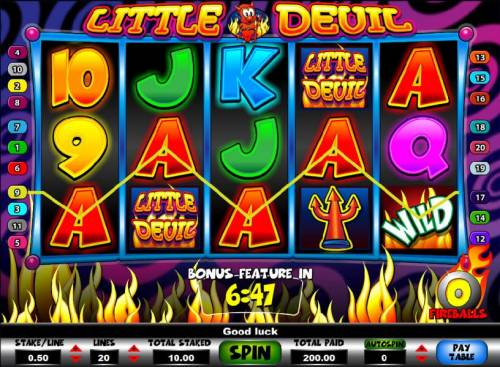 Little Devil Review Slots five of a kind triggers a 200 coin jackpot