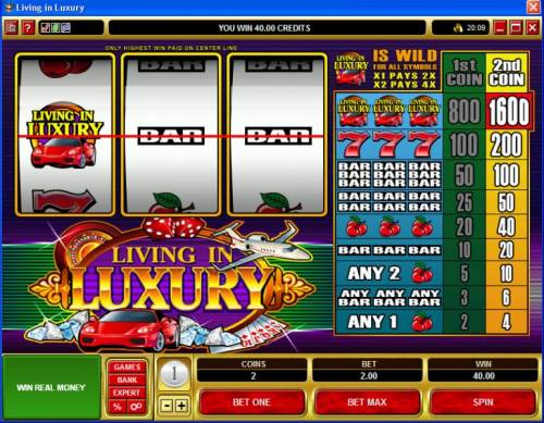 Living in Luxury review on Review Slots