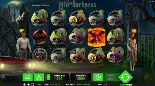Lord of Darkness Review Slots Main game board featuring five reels and 25 paylines with a $40,480 max payout.