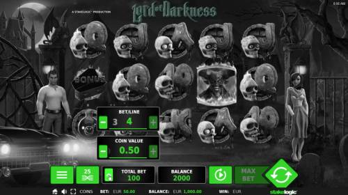 Lord of Darkness Review Slots Click on the BET button to adjust the coin size and coins per line played.