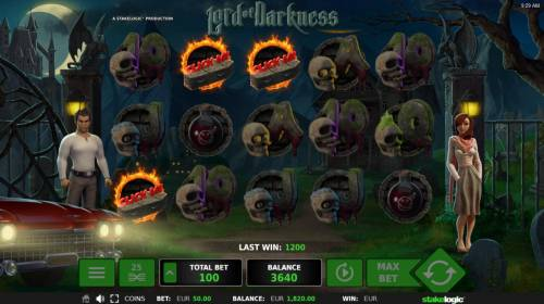 Lord of Darkness Review Slots Landing three coffin scatter symbols triggers bous feature.