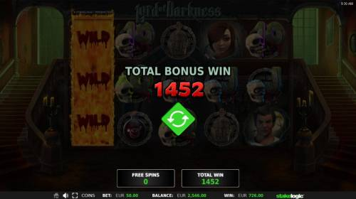 Lord of Darkness Review Slots Total Bonus Win 1452 coins