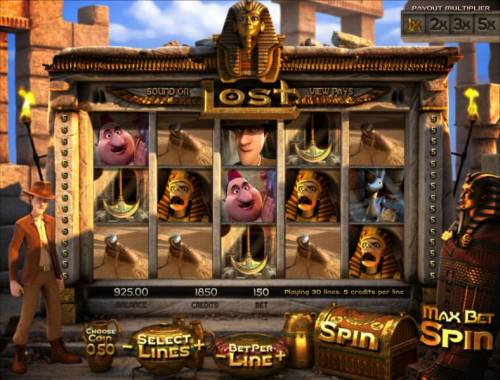 Lost Review Slots main game board featuring five reels and thirty paylines