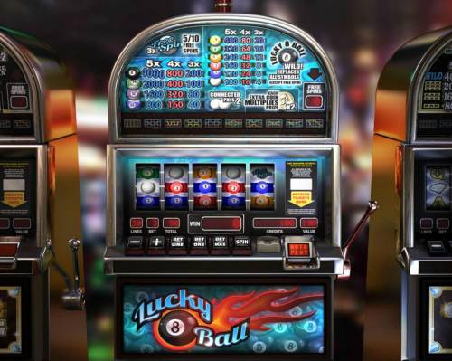 Lucky 8 Ball Review Slots Main game board featuring five reels and 30 paylines with a $20,000 max payout.