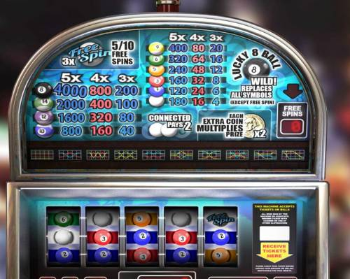 Lucky 8 Ball Review Slots Slot game symbols paytable and Payline Diagrams 1-30.