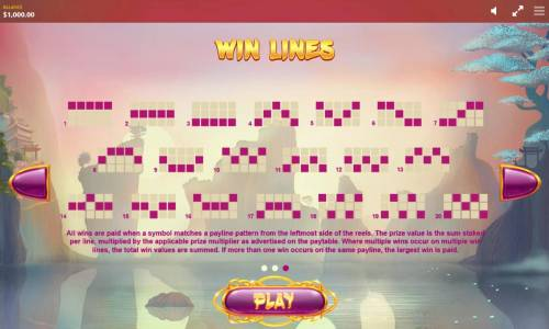 Lucky Fortune Cat Review Slots Payline Diagrams 1-20. All wins are paid when a symbol matches a payline pattern from the leftmost side of the reels.