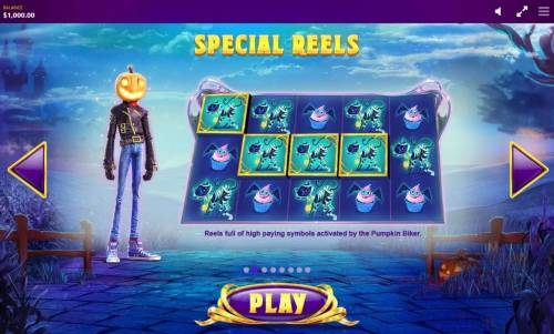 Lucky Halloween Review Slots Special Reels - Reels full of high paying symbols activated by the Pumpkin Biker