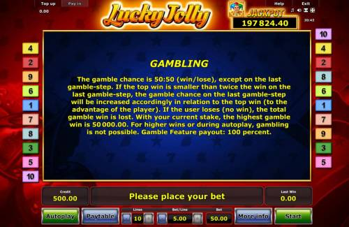 Lucky Jolly Review Slots Gambling Rules - The gamble chance is 50:50 (win/lose), except on the last gamble-step.