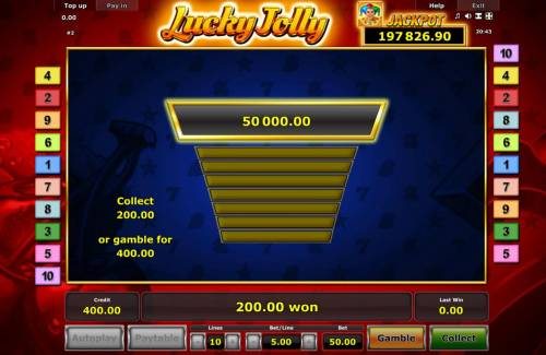 Lucky Jolly Review Slots Gamble Feature Game Board - Available after every winning spin.