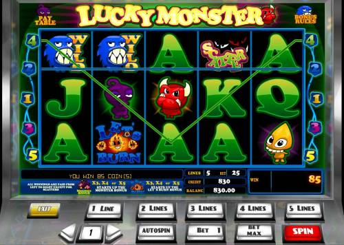 Lucky Monster Review Slots A pair of winning paylines triggers an 85 coin jackpot award.