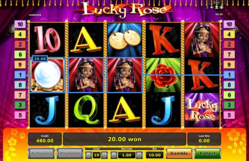 Lucky Rose Review Slots A winning three of a kind