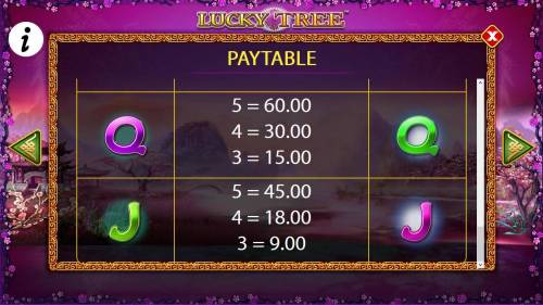 Lucky Tree Review Slots Free Games - Low value game symbols paytable.