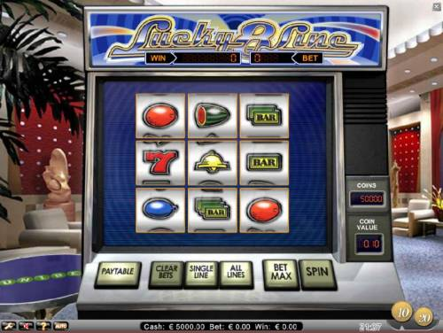 Lucky 8 Line Review Slots main game board featuring 9 reels and 8 paylines