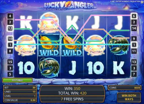 Lucky Angler Review Slots a couple of sticky wilds leads to a 350 coin payout during the free spins feature