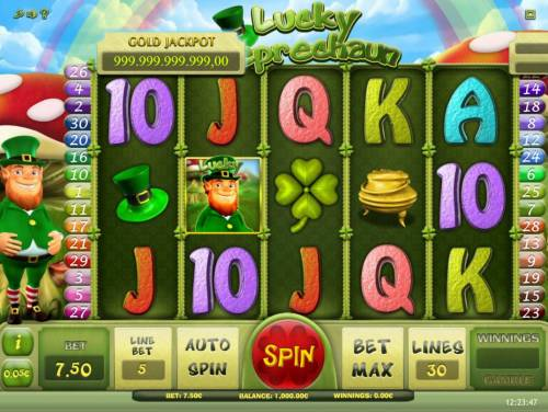 Lucky Leprechaun Review Slots Main game board featuring five reels and 30 paylines with a progressive jackpot max payout