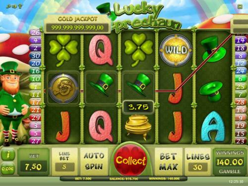 Lucky Leprechaun Review Slots Multiple winning paylines triggers a 140.00 big win!