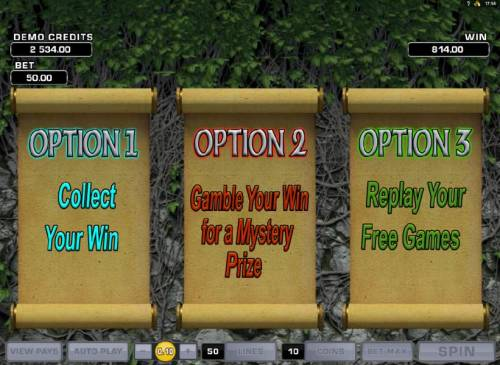 Review Slots you have three options to choose from after the free spins feature has completed