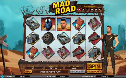 Mad Road Review Slots Main game board featuring five reels and 15 paylines with a $34,000 max payout