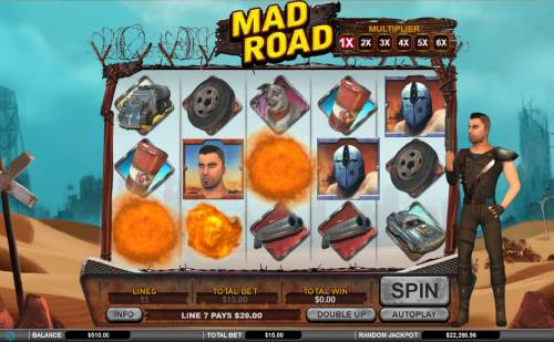 Mad Road Review Slots Explosion Spin triggered, all winning symbols will explode, symbols above them will drop down and new symbols will drop onto the screen for a chance of increased wins and higher multiplier with each successive win.