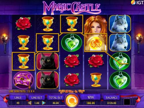 Magic Castle Review Slots Leonora wild triggers a winning four of kind with an x4 multiplier applied to winnings.