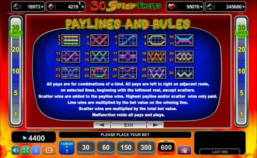 Magic Castle Review Slots Payline Diagrams 1-30. All pays are for combinations of a kind. All pays are left to right on adjacent reels, on selected lines, beginning with the leftmost reel, except scatters.