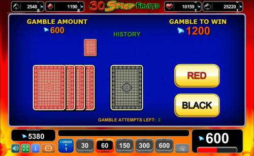 Magic Castle Review Slots Gamble Feature - To gamble any win press Gamble then select Red or Black.