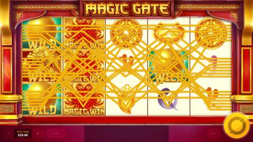 Magic Gate Review Slots Multiple winning paylines triggered by Dragon Ball Wild feature.