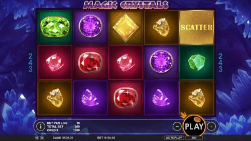 Magic Crystals Review Slots Main game board featuring five reels and 243 winning combinations with a $6,250 max payout