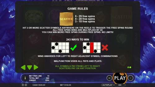 Magic Crystals Review Slots hit 3 or more scatter symbols anywhere on the reels to trigger the free spins round. All free spins wins are multiplied by 3x. You can win more free spins during free spins. No limits!