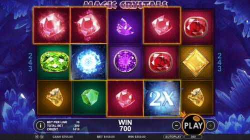 Magic Crystals Review Slots A pair of wild 2x multipliers contribute to a 700 coin big win.