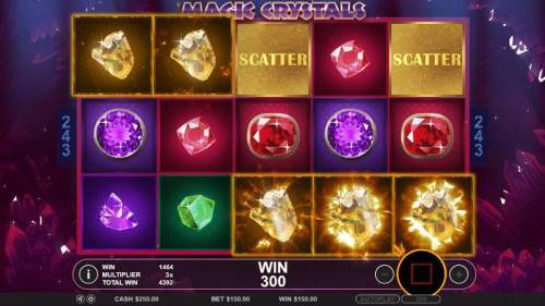 Magic Crystals Review Slots A five of a kind triggered during the free spins feature leading to a 300 coin jackpot.