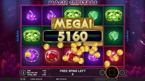 Magic Crystals Review Slots A 5160 coin mega win paid out at the end of the free spins feature.