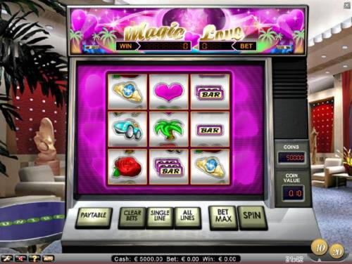 Magic Love Review Slots main game board featuring nine reels and 8 paylines