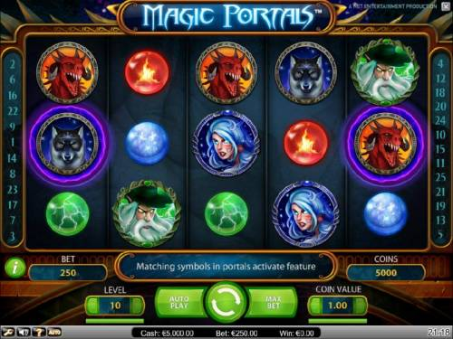 Magic Portals Review Slots main game board featuring five reels, 25 paylines and a $5,000 max payout