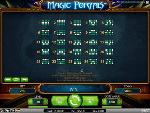 Magic Portals Review Slots payline diagrams